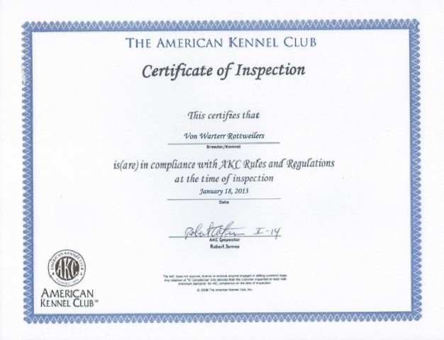 AKC Inspection Certificate