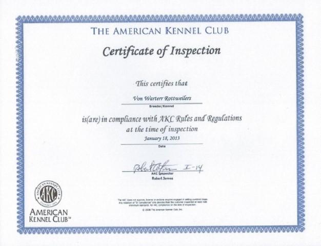 AKC Inspection Certificate