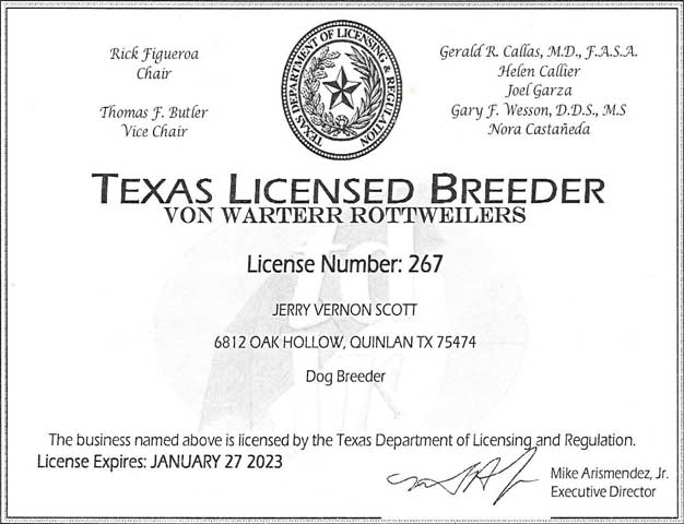 Texas Licensed Breeder